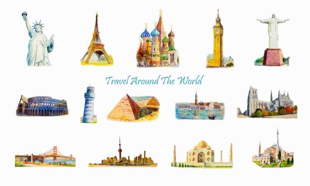 Monuments célèbres du monde. Vecteur Premium