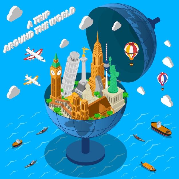 Monuments du monde en fond de globe Vecteur gratuit
