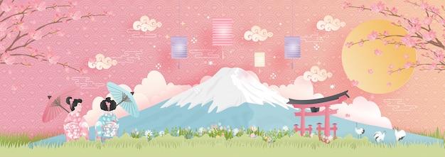 Monuments de renommée mondiale du japon avec la montagne fuji Vecteur Premium