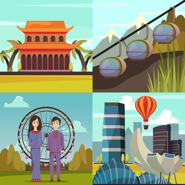 Monuments de singapour 4 icônes orthogonales Vecteur gratuit