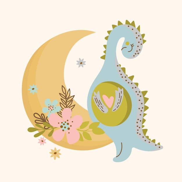C Moon Dino Design Plat Dessiné à La Main Style Grunge Cartoon Animal Préhistorique Illustration Vectorielle Mignon Vêtements Imprimer Vecteur Premium