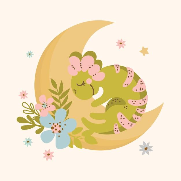 Moon Dino Design Plat Dessiné à La Main Style Grunge Cartoon Sleep Prehistoric Animal Kid Apparel Vector Illustration Pour Impression Vecteur Premium