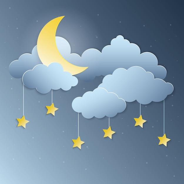 Moonlight et étoiles suspendues papier art vectoriel Vecteur Premium