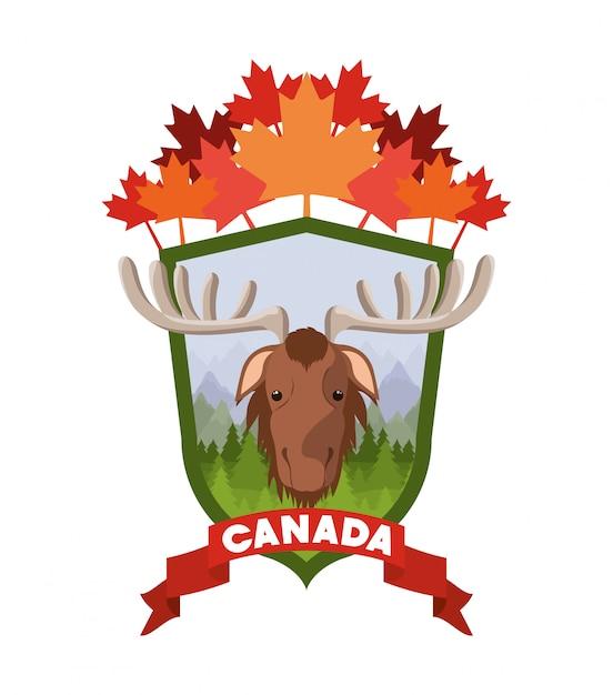 Moose animal et pins Vecteur gratuit