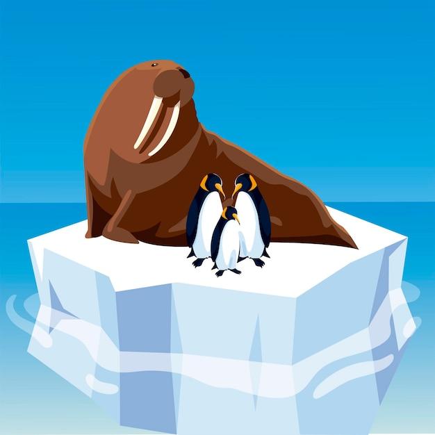 Morse Et Pingouins Ensemble Sur Un Iceberg Fondu Dans L'illustration Du Pôle Nord Vecteur Premium