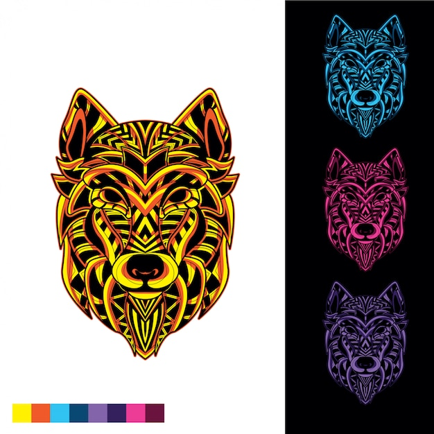 Mosaïque de loup à partir de motif décoratif avec éclat dans le noir Vecteur Premium