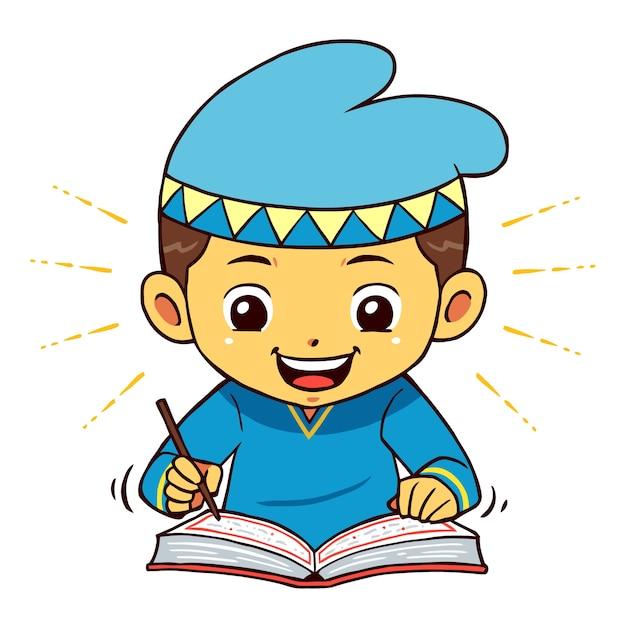 Moslem Boy Character Lecture Quran Pose. Vecteur Premium