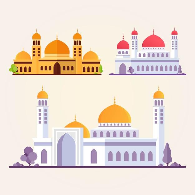 Mosquée Islamique Bâtiment Set Illustration Plate Vecteur Premium