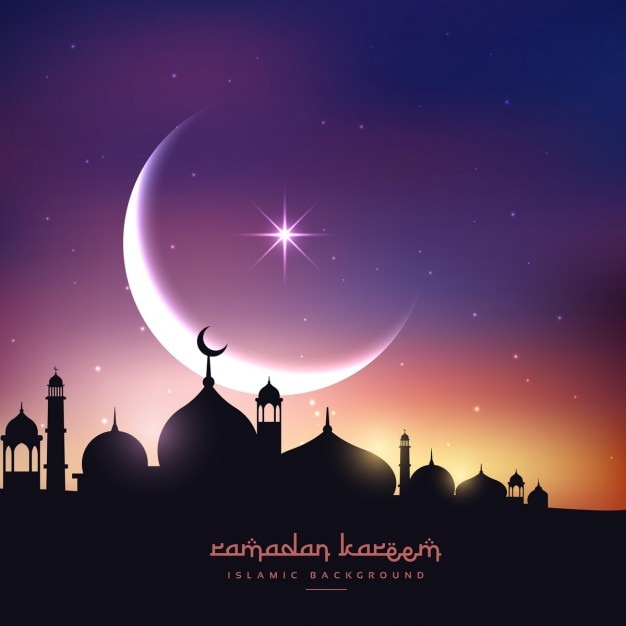 Mosquée silhouette dans le ciel de nuit avec la lune de croissant et l'étoile Vecteur gratuit
