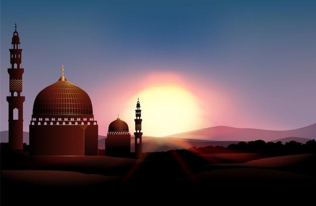 Mosquée sur le terrain au coucher du soleil Vecteur gratuit