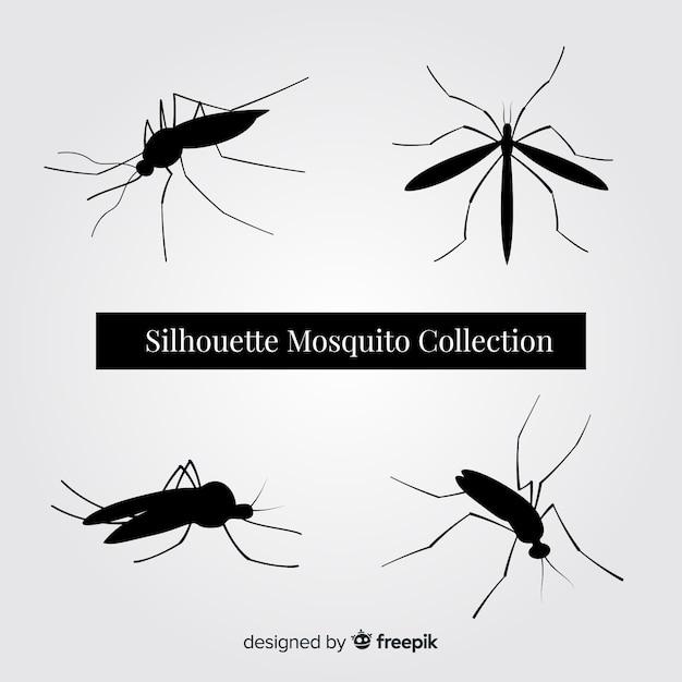 Mosquito Silhouette Set Vecteur gratuit