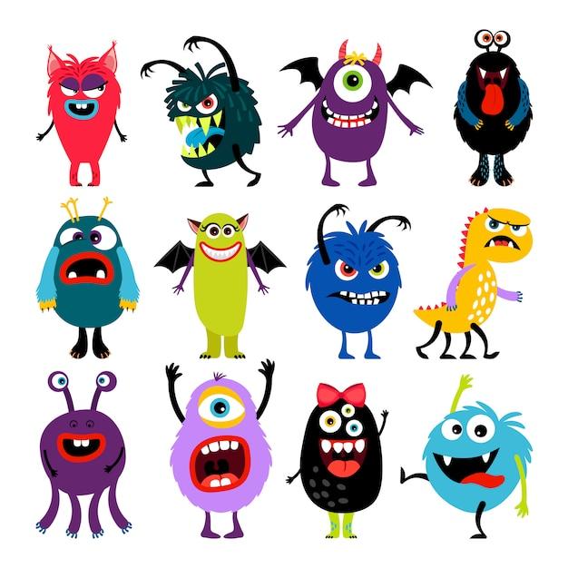 Mosters colorés de dessin animé mignon avec la collection de différentes émotions Vecteur Premium