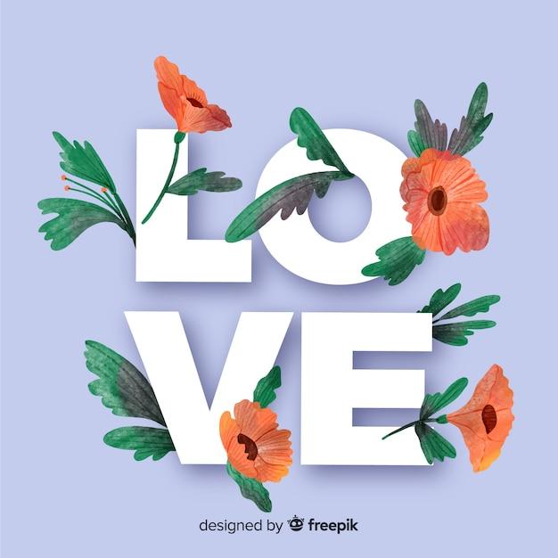 Mot d'amour avec des fleurs et des feuilles Vecteur gratuit