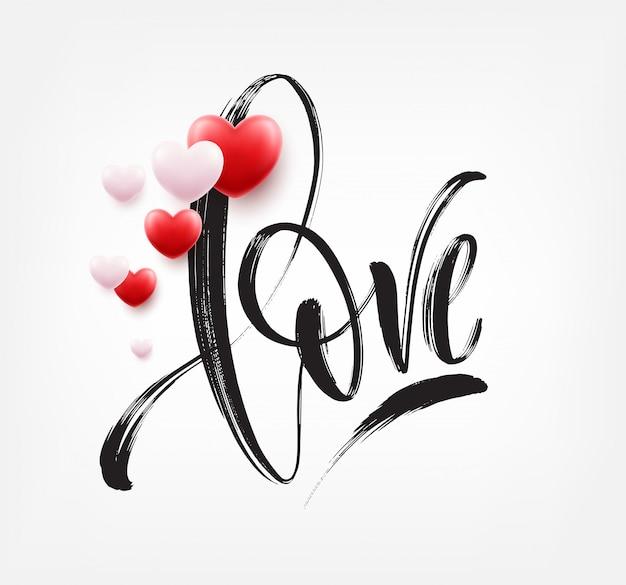 Mot D'amour Lettrage Dessiné à La Main Avec Coeur Rouge. Illustration Vectorielle Vecteur Premium