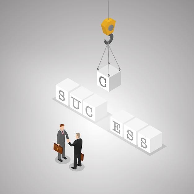 Le mot du succès et l'homme d'affaires en poignée de main. Vecteur Premium