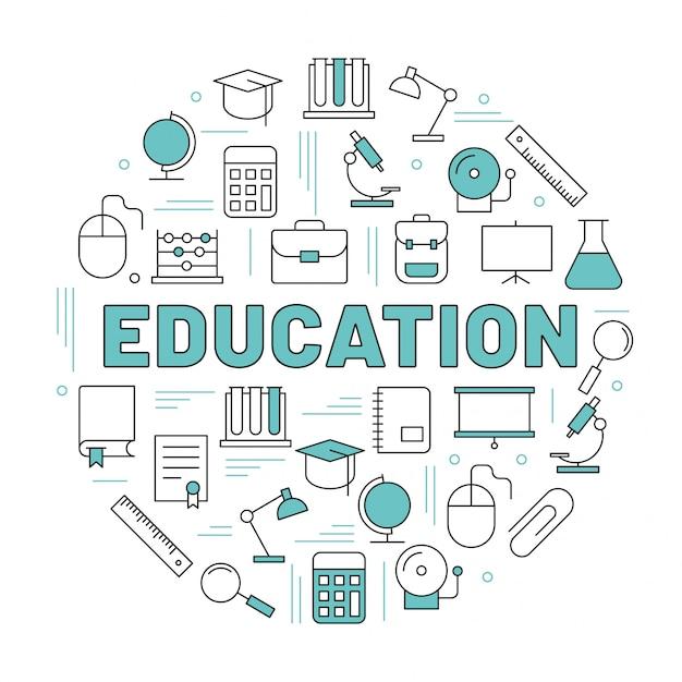Le mot éducation entouré d'icônes Vecteur Premium