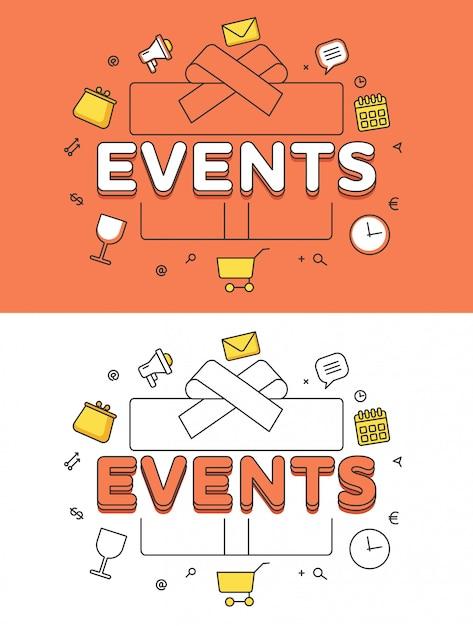 Mot événements Sur Boîte Cadeau Et Icônes Héros Image Linéaire Illustration Vecteur gratuit