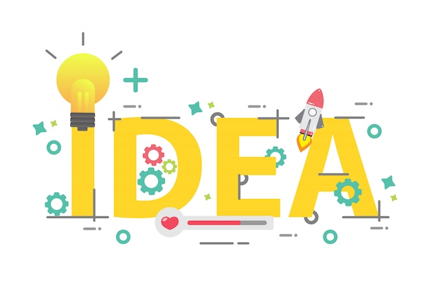 Mot d'idée, concept d'idée créative, design pour la création d'entreprise Vecteur Premium