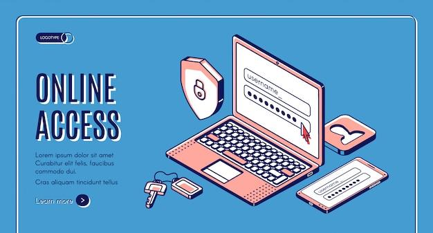 Mot De Passe De Connexion D'accès En Ligne, Entrez La Page Sur Un Ordinateur Portable, Une Page De Destination Web Ou Un Modèle De Bannière Vecteur gratuit