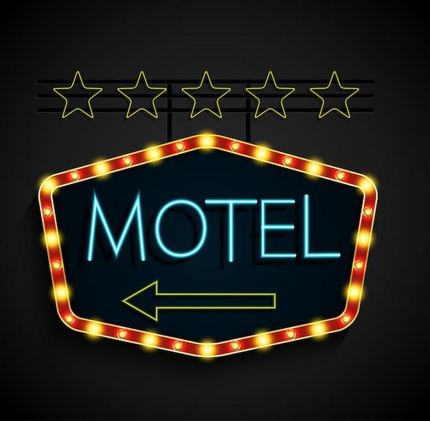 Motel de bannière lumineuse rétro brillant sur fond noir Vecteur Premium