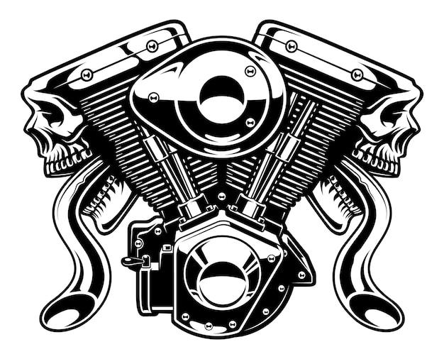 Moteur Monster Isolé Sur Fond Blanc. Vecteur Premium