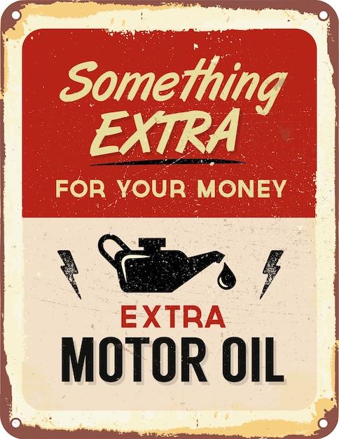 Moteur vintage signe d'étain d'huile Vecteur gratuit