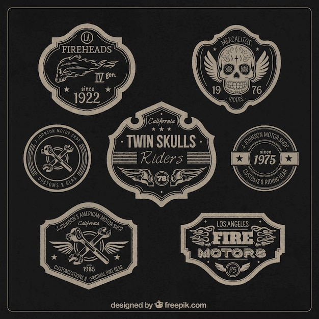Moteurs Badges Vecteur gratuit