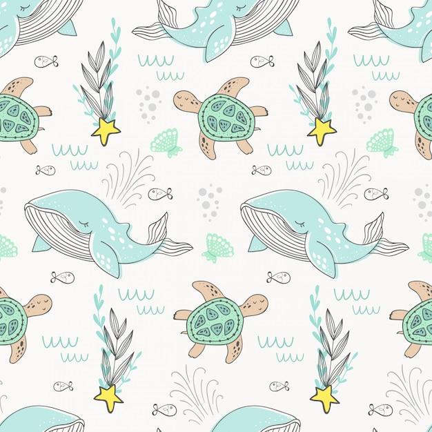 Motif de baleine en dessin animé. fond de la mer Vecteur Premium