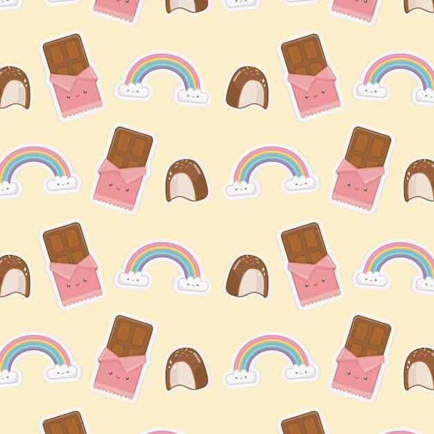 Motif De Barres De Caractères Kawaii Nuages Et Chocolats Arc