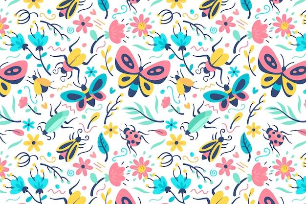 Motif De Belles Fleurs Et Insectes Vecteur gratuit
