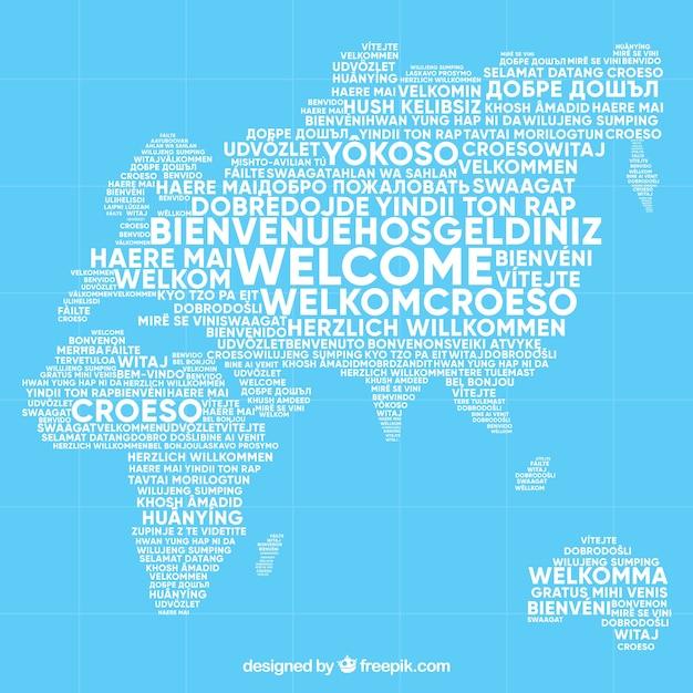 Motif De Bienvenue Dans Différentes Langues Vecteur Premium