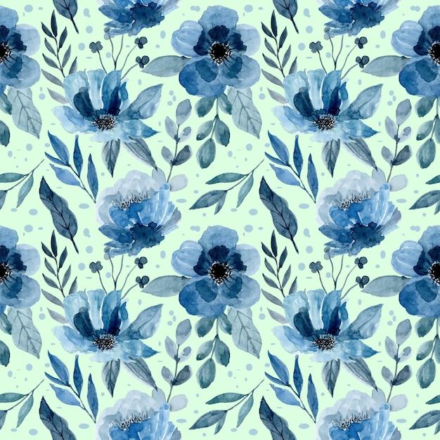 Motif bleu avec aquarelle florale et feuilles Vecteur Premium