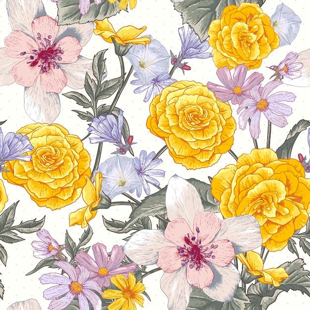 Motif botanique floral sans couture avec fleurs sauvages Vecteur Premium