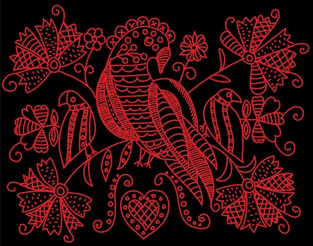 Motif de broderie avec oiseaux et fleurs dans un style folklorique. Vecteur Premium