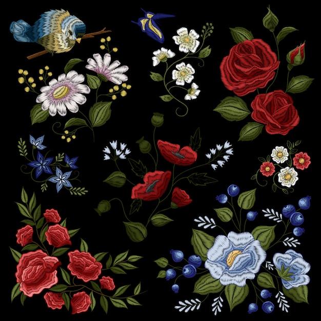 Motif de broderie ornementale de mode folklorique florale Vecteur gratuit