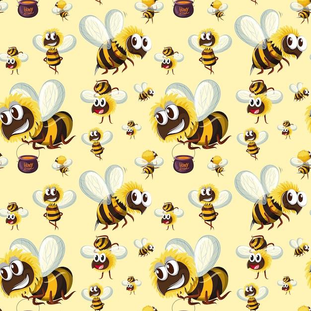 Motif bumble bee sans couture Vecteur gratuit