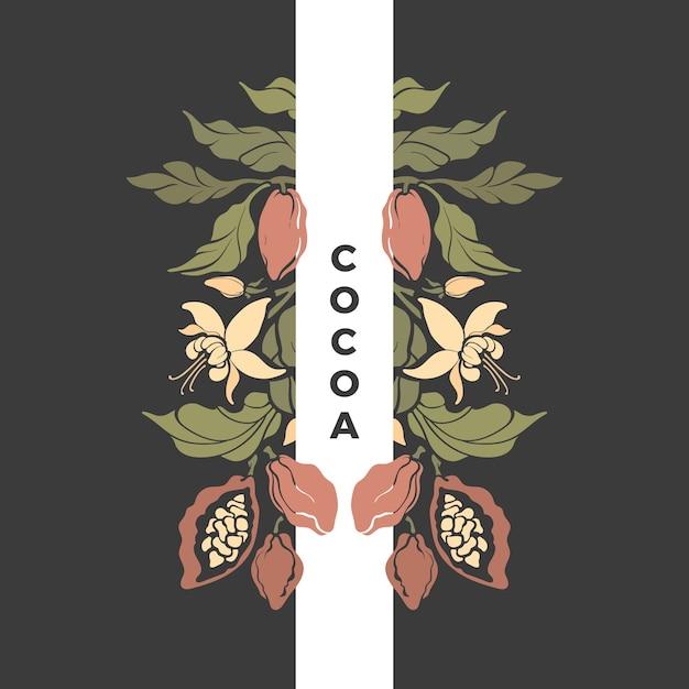 Motif De Cacao. Chocolatier, Bob, Fleur. Carte Vintage. Illustration De La Nature. Design D'art Vecteur Premium