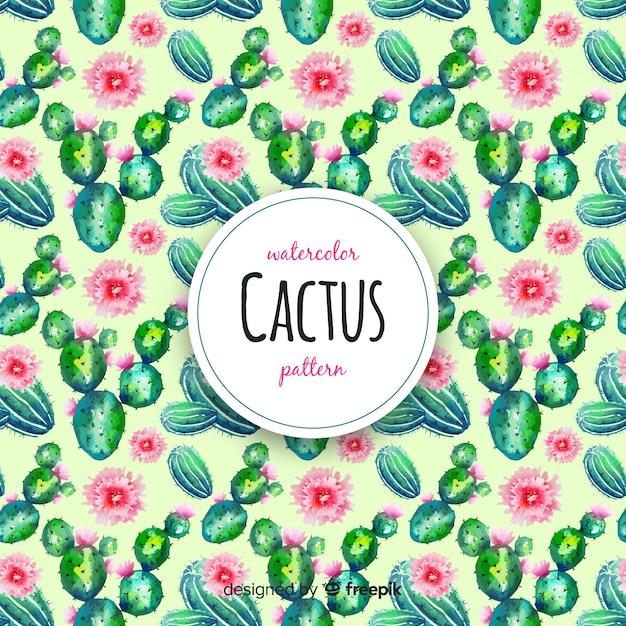 Motif de cactus aquarelle Vecteur gratuit