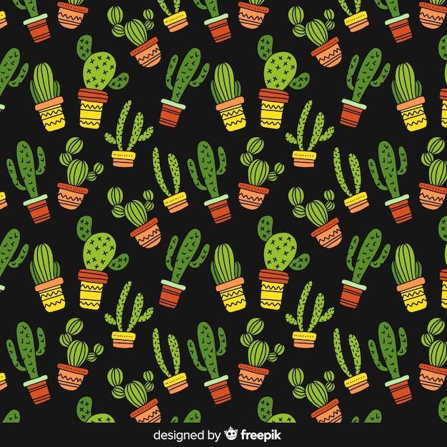 Motif de cactus dessiné à la main Vecteur gratuit