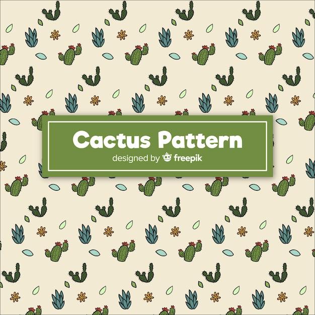 Motif de cactus doodle dessiné à la main Vecteur gratuit