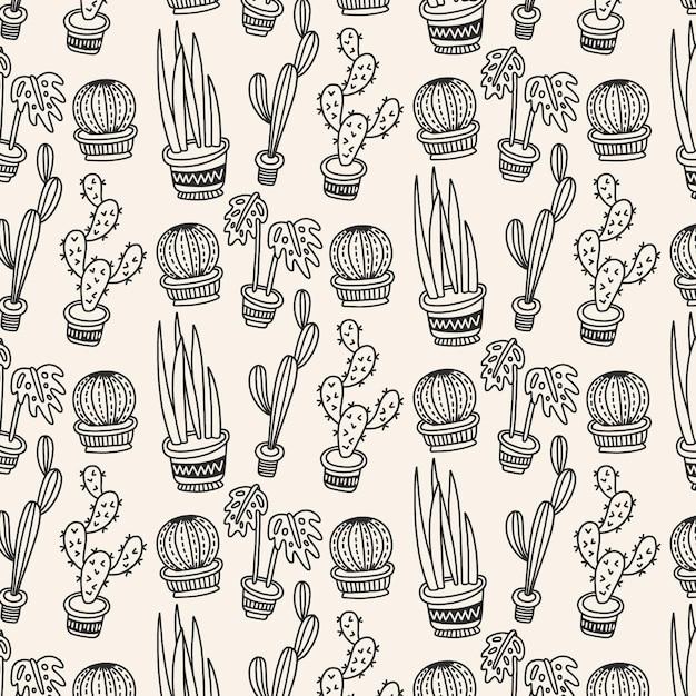 Motif De Cactus Noir Et Blanc Vecteur gratuit