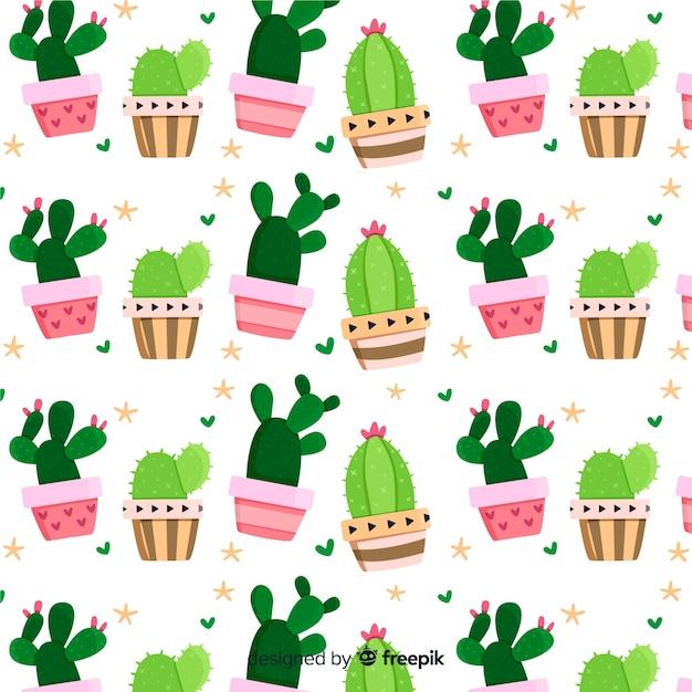 Motif de cactus plat Vecteur gratuit