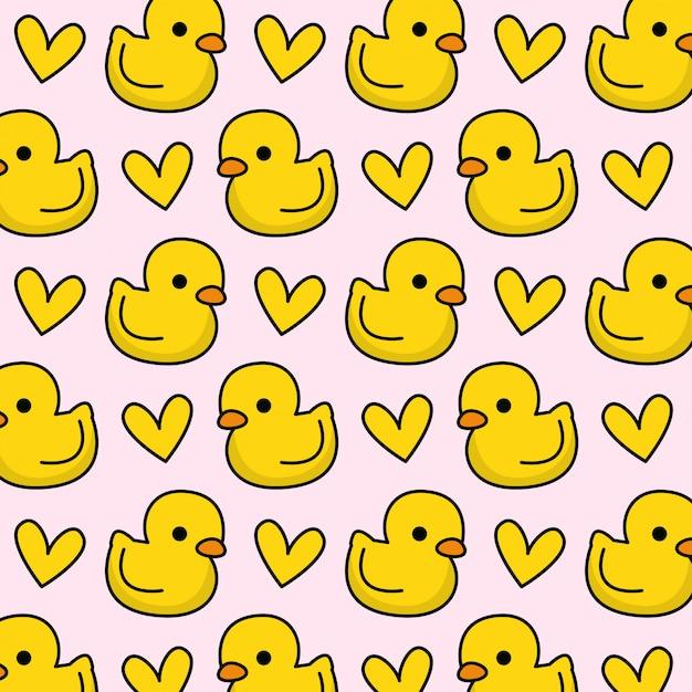 Motif de canard en caoutchouc avec coeur Vecteur Premium