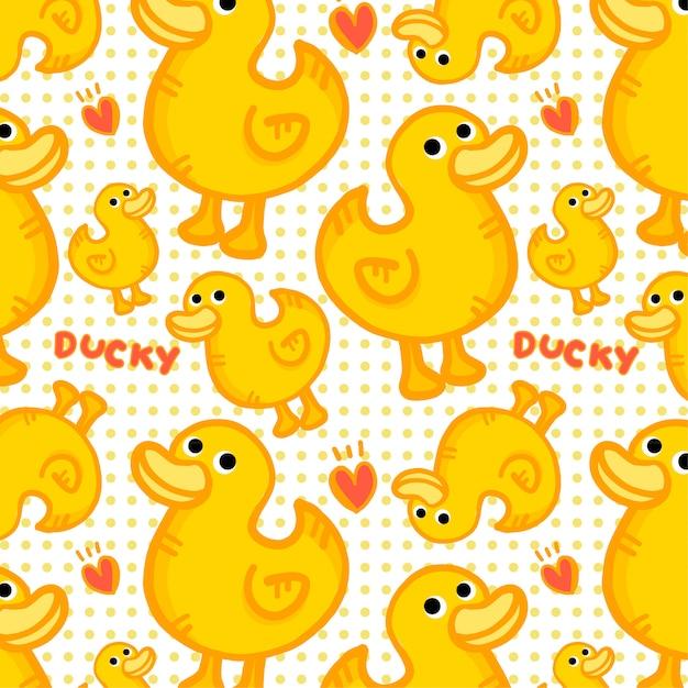 Motif de canard jaune Vecteur Premium