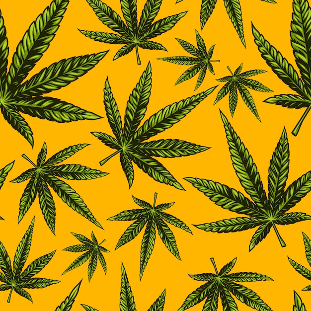 Motif De Cannabis Sans Soudure Vecteur Premium
