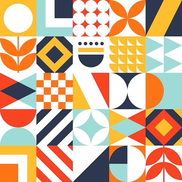 Motif de carreaux bauhaus décoratifs avec des formes géométriques Vecteur Premium