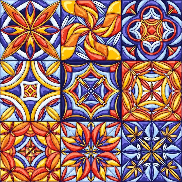 Motif De Carreaux De Céramique. Talavera Mexicaine Ornée Traditionnelle, Azulejo Portugais Ou Majolique Espagnole Vecteur Premium