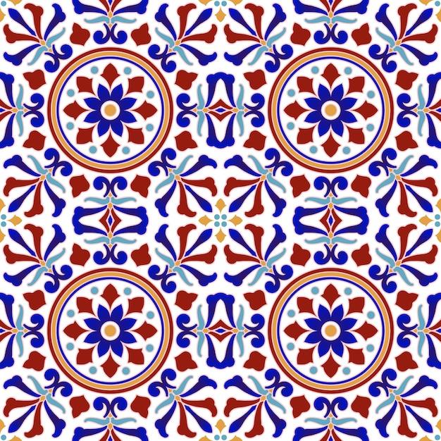 Motif de carreaux vintage avec style turc patchwork coloré, élément de décoration florale abstraite pour votre conception, vecteur de décor sans faille beau fond d'écran en céramique indienne et arabe Vecteur Premium