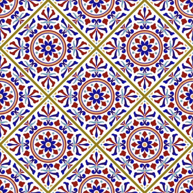 Motif de carreaux vintage avec style turc patchwork coloré Vecteur Premium