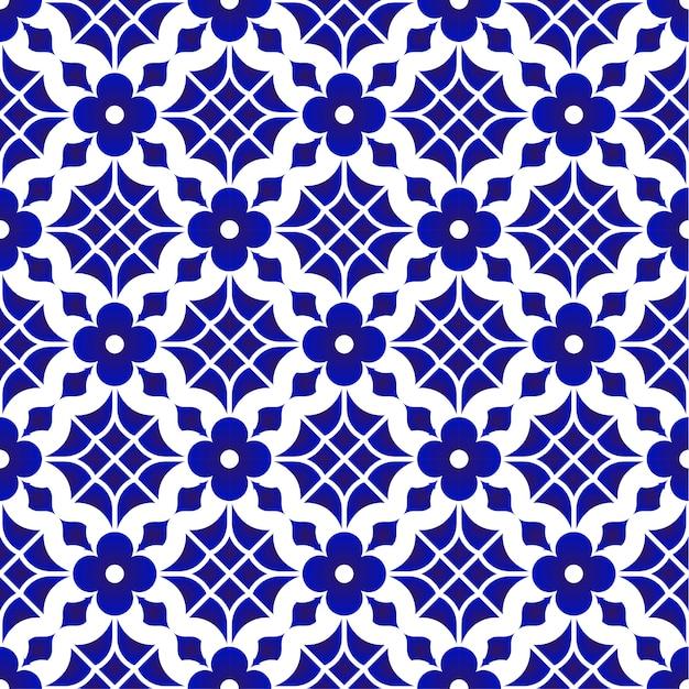 Motif de carrelage, fond transparent en céramique fleur bleue et blanche, belle porcelaine wallp Vecteur Premium